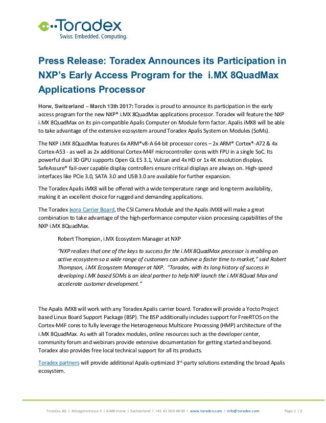 Toradex Announces its Participation in NXP's Early Access Program for…