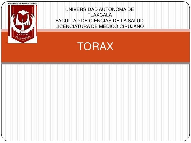 TORAX UNIVERSIDAD AUTONOMA DE TLAXCALA FACULTAD DE CIENCIAS DE LA SALUD LICENCIATURA DE MEDICO CIRUJANO