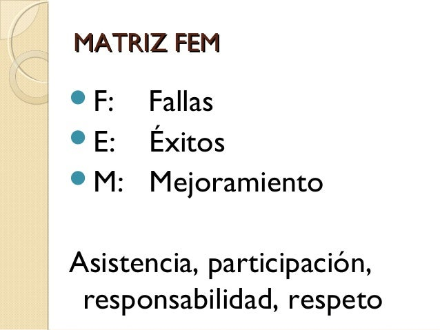 MATRIZ FEM F:  Fallas E: Éxitos M: Mejoramiento Asistencia, participación, responsabilidad, respeto