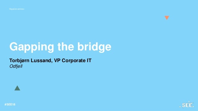 Organize services #SEE18 Gapping the bridge Torbjørn Lussand, VP Corporate IT Odfjell