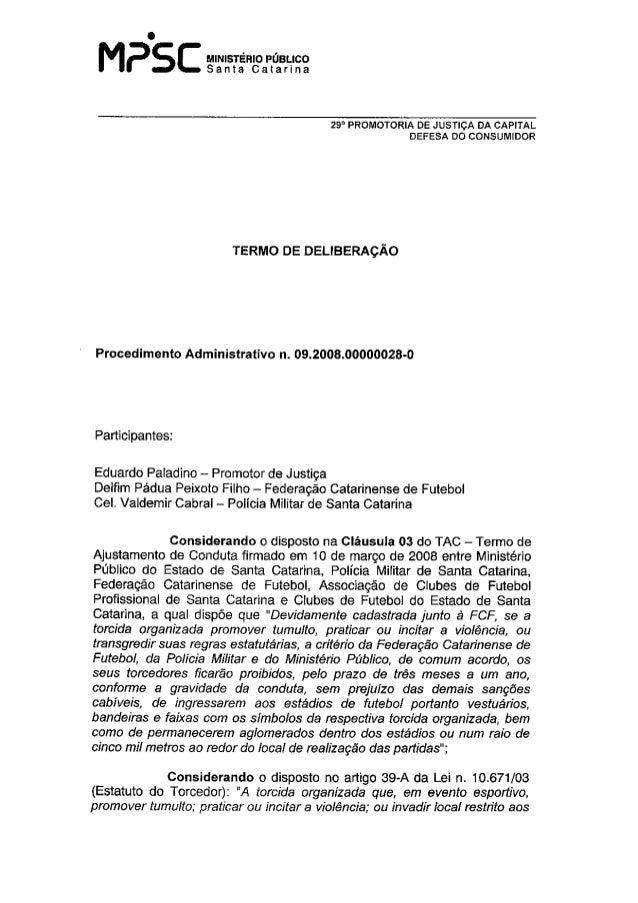 Termo de Deliberação referente às punições aplicadas às torcidas organizadas