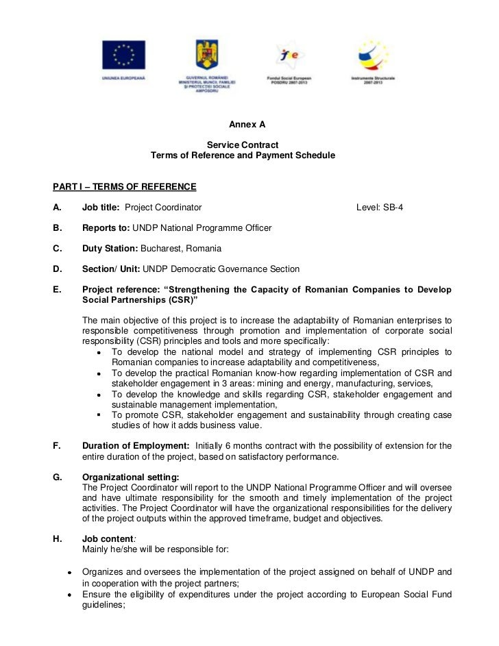 Annex A                                   Service Contract                       Terms of Reference and Payment SchedulePA...