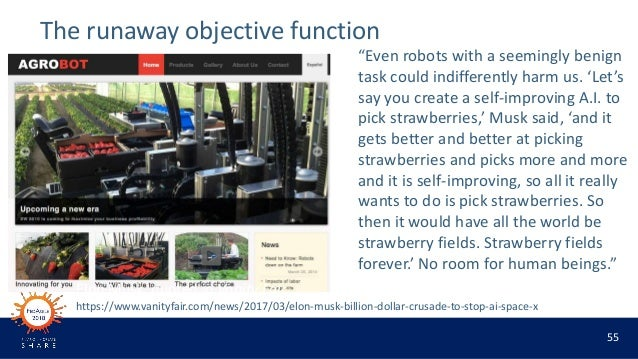 """55 The runaway objective function """"Even robots with a seemingly benign task could indifferently harm us. 'Let's say you cr..."""