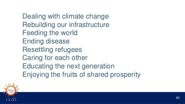 60 Dealing with climate change Rebuilding our infrastructure Feeding the world Ending disease Resettling refugees Caring f...