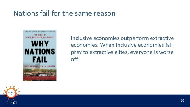 66 Nations fail for the same reason Inclusive economies outperform extractive economies. When inclusive economies fall pre...
