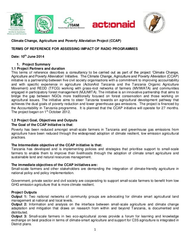 1 Climate Change, Agriculture and Poverty Alleviation Project (CCAP) TERMS OF REFERENCE FOR ASSESSING IMPACT OF RADIO PROG...