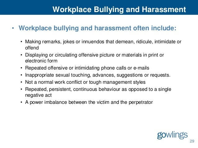 bullying and harassment policy template - gowlings 39 employment and labour law seminar 2013