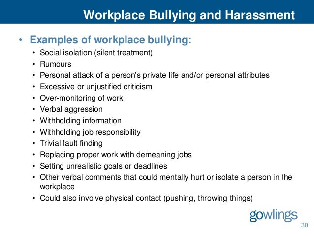 Gowlings employment and labour law seminar 2013 30 workplace bullying and harassment spiritdancerdesigns Images
