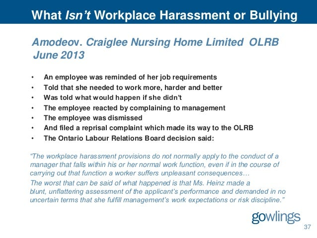 Gowlings 39 employment and labour law seminar 2013 for Workplace violence and harassment risk assessment template
