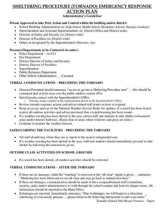 SHELTERING PROCEDURE (TORNADO) EMERGENCY RESPONSE                     ACTION PLAN                                         ...