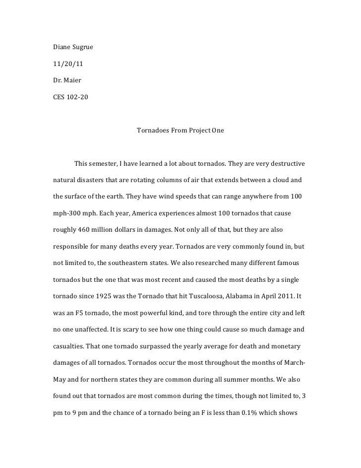 tornado essay thesis
