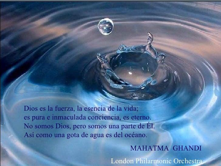 Dios es la fuerza, la esencia de la vida; es pura e inmaculada conciencia, es eterno. No somos Dios, pero somos una parte ...
