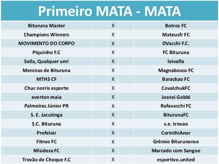 Primeiro MATA - MATA   Bituruna Master      X        Botros FC Champions Winners      X       Mateusfr FCMOVIMENTO DO CORP...