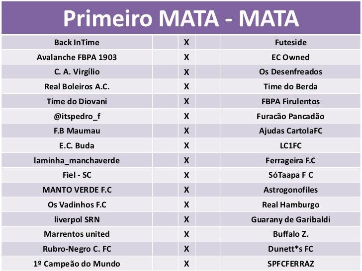 Primeiro MATA - MATA    Back InTime        X        FutesideAvalanche FBPA 1903    X        EC Owned    C. A. Virgílio    ...