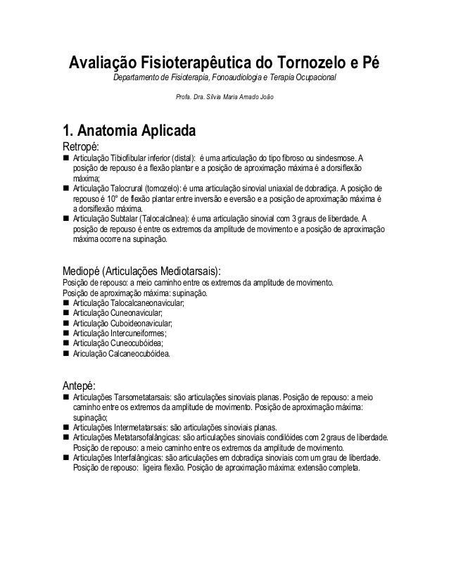 Avaliação Fisioterapêutica do Tornozelo e Pé               Departamento de Fisioterapia, Fonoaudiologia e Terapia Ocupacio...