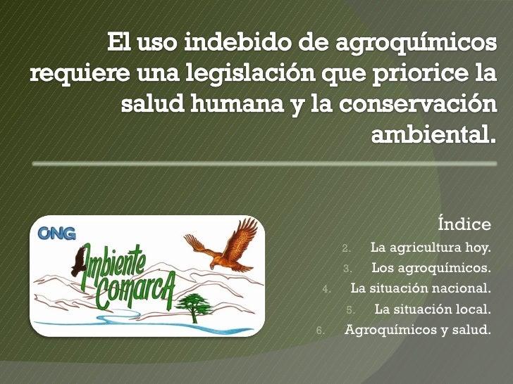 Índice    2.   La agricultura hoy.    3.   Los agroquímicos. 4.   La situación nacional.    5.    La situación local.6.  A...