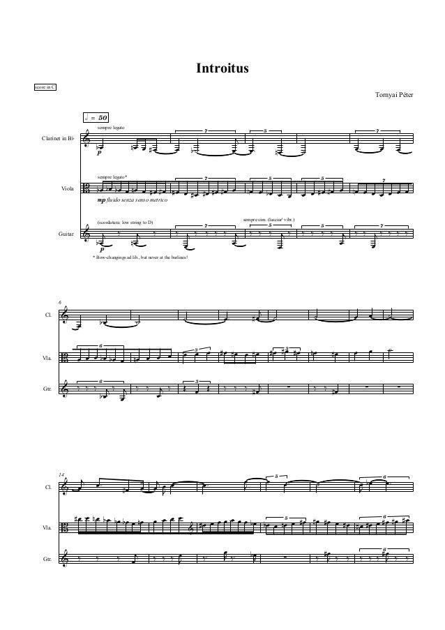 Introitus score in C  Tornyai Péter  h = 50 sempre legato 7  5  &  Clarinet in Bb  bœ  nœ œ #œ  œ  j œ  b˙  7  œ™ œ™  nœ  ...