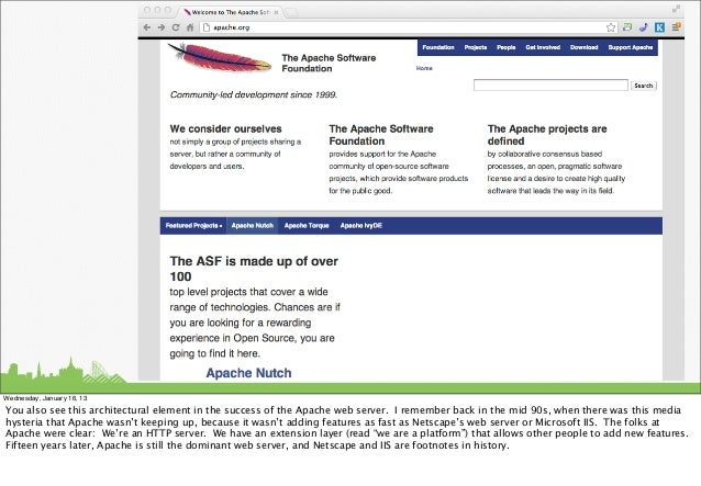 Wednesday, January 16, 13You also see this architectural element in the success of the Apache web server. I remember back ...