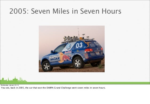 2005: Seven Miles in Seven HoursWednesday, January 16, 13You see, back in 2005, the car that won the DARPA Grand Challenge...