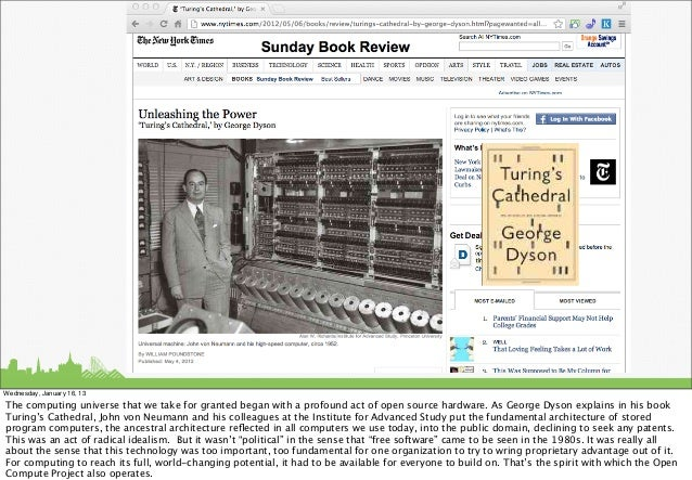 Wednesday, January 16, 13The computing universe that we take for granted began with a profound act of open source hardware...