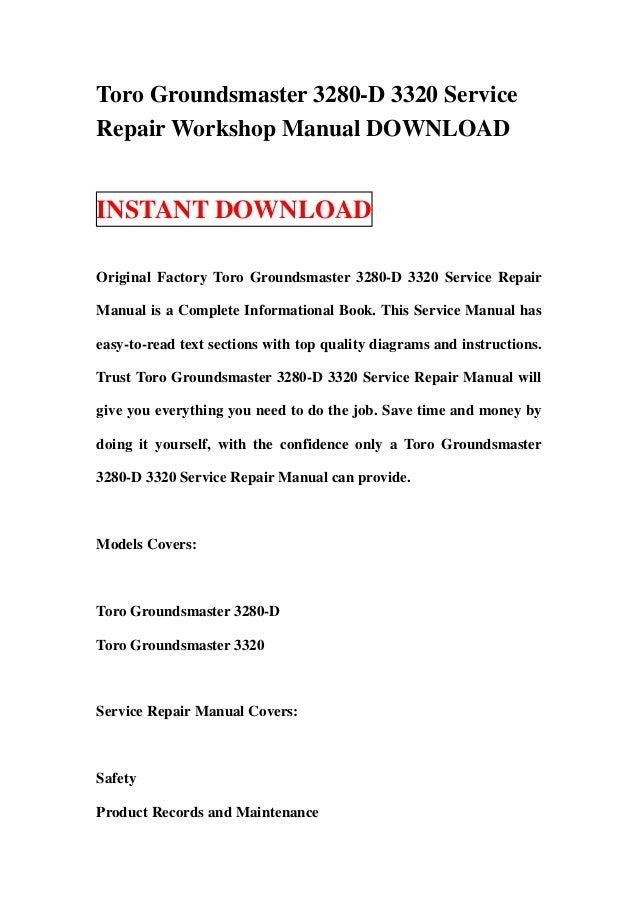 toro groundsmaster 3280 service manual