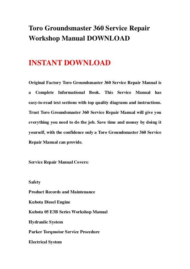 Toro Groundsmaster 360 Service Repair Workshop Manual Download