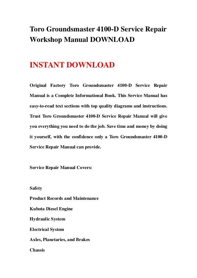 Toro Groundsmaster 4100 D Service Repair Workshop Manual