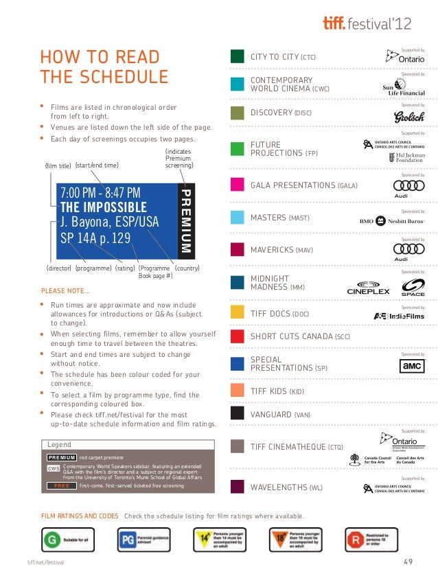 7:00 PM - 8:47 PM THE IMPOSSIBLE J. Bayona, ESP/USA SP 14A p.129 PREMIUM HOW TO READ THE SCHEDULE FILM RATINGS AND CODES C...