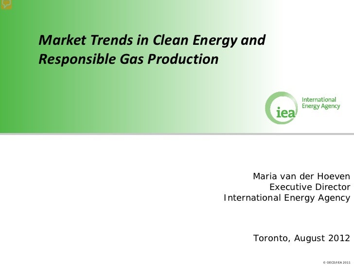 Market Trends in Clean Energy andResponsible Gas Production                                Maria van der Hoeven           ...