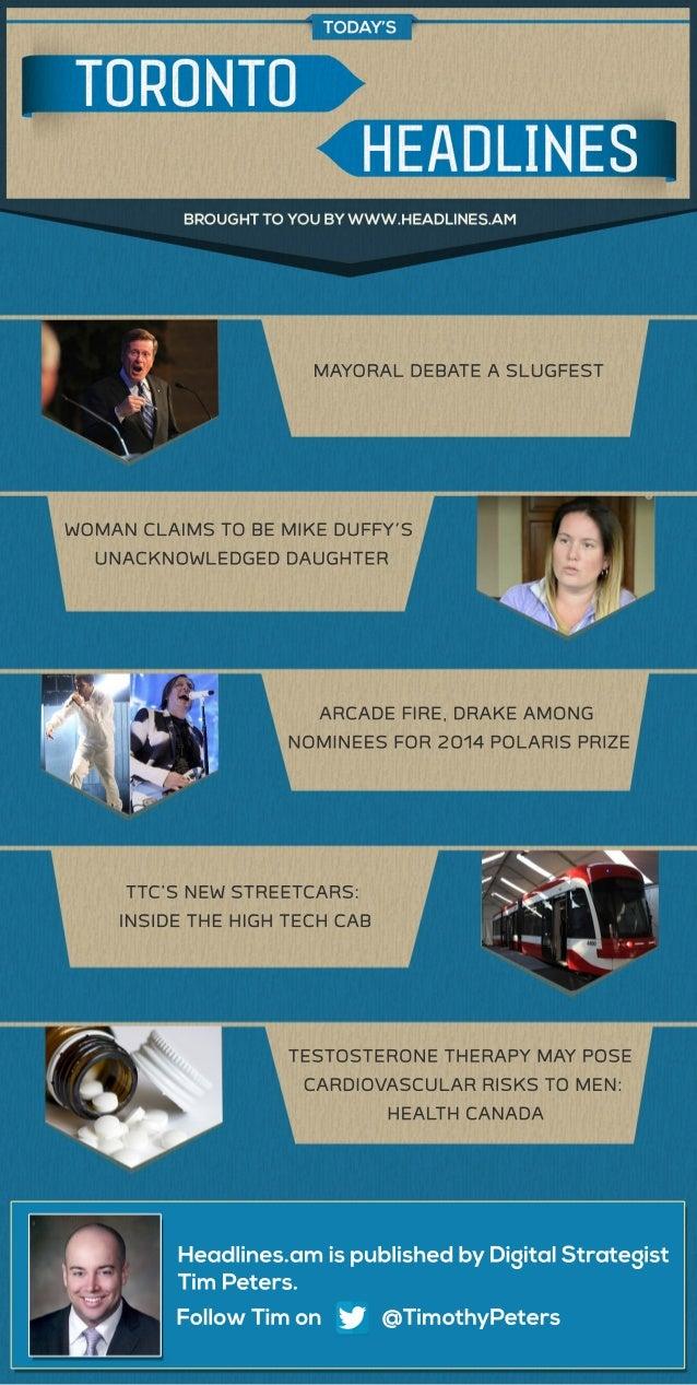MAYORALDEBATEASLUGFEST WOMANCLAIMSTOBEMIKEDUFFY'S UNACKNOWLEDGEDDAUGHTER ARCADEFIRE,DRAKEAMONG NOMINEESFOR2014POLARISPRIZE...