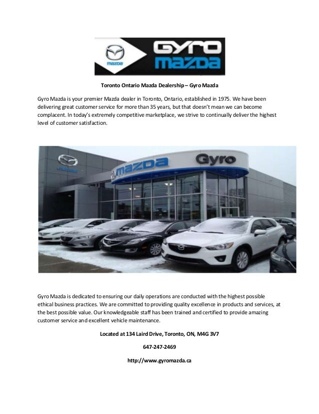 Toronto Ontario Mazda Dealership - Gyro Mazda