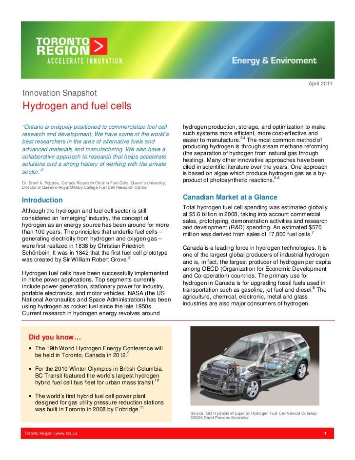 """April 2011Innovation SnapshotHydrogen and fuel cells""""Ontario is uniquely positioned to commercialize fuel cell            ..."""