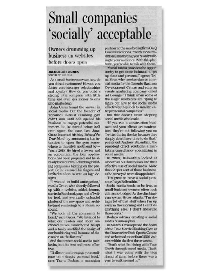 Toronto Star - Small companies socially acceptable