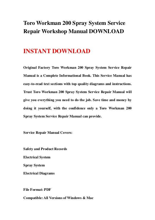 toro workman md mdx workshop service repair manual download