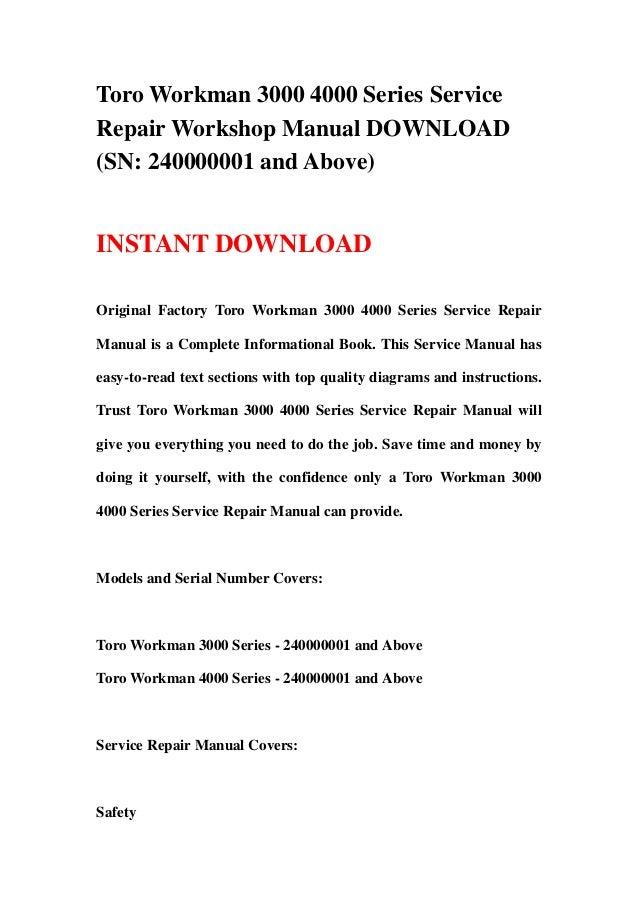 toro workman 3000 4000 series service manual download
