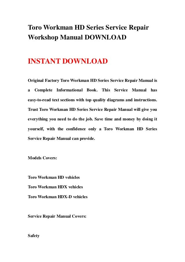 toro workman hd series service repair workshop manual download