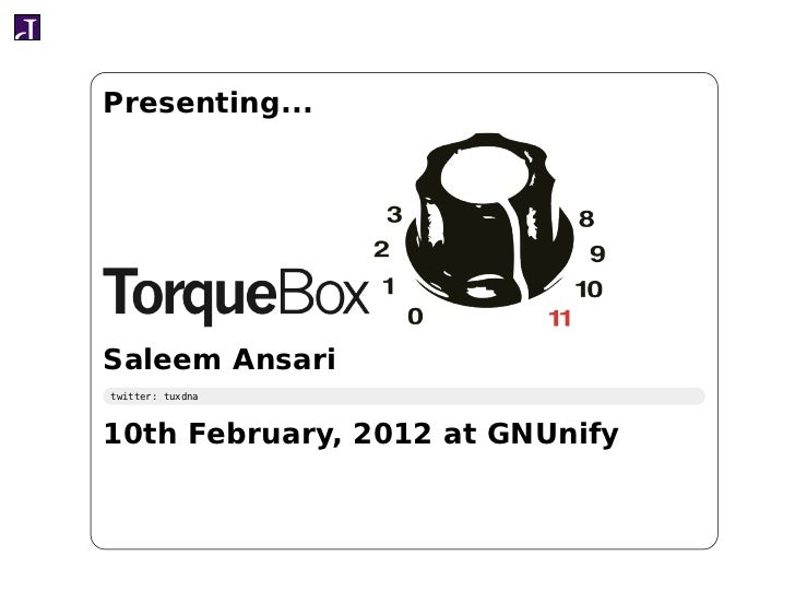 Presenting...Saleem Ansaritwitter: tuxdna10th February, 2012 at GNUnify