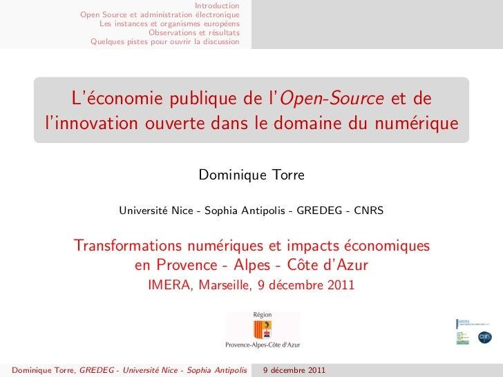 Introduction                 Open Source et administration ´lectronique                                                e  ...
