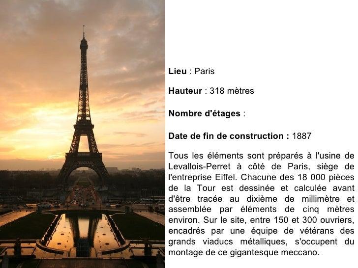Tous les éléments sont préparés à l'usine de Levallois-Perret à côté de Paris, siège de l'entreprise Eiffel. Chacune des 1...