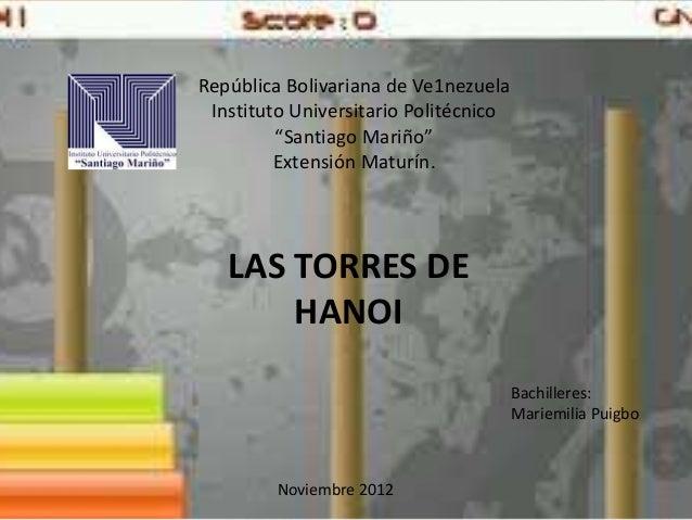 "República Bolivariana de Ve1nezuela Instituto Universitario Politécnico         ""Santiago Mariño""         Extensión Maturí..."
