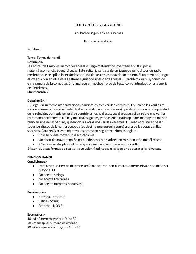 ESCUELA POLITECNICA NACIONALFacultad de ingeniería en sistemasEstructura de datosNombre: Alexander PinchaoTema: Torres de ...