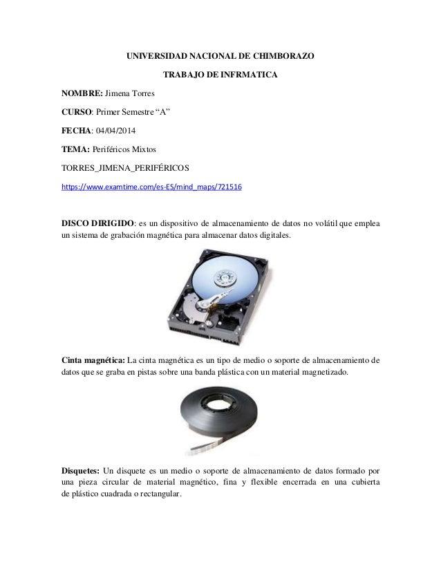 "UNIVERSIDAD NACIONAL DE CHIMBORAZO TRABAJO DE INFRMATICA NOMBRE: Jimena Torres CURSO: Primer Semestre ""A"" FECHA: 04/04/201..."