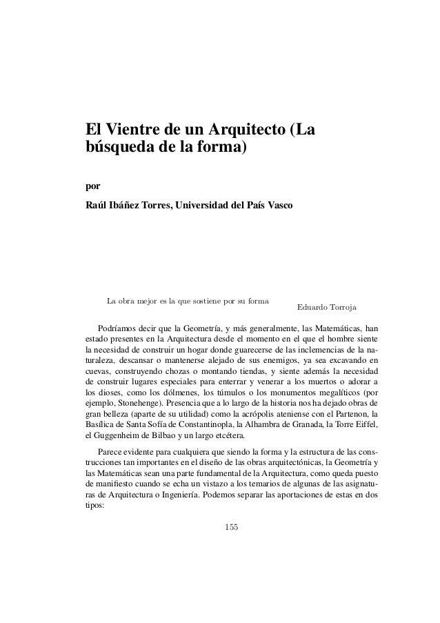 El Vientre de un Arquitecto (La búsqueda de la forma) por Raúl Ibáñez Torres, Universidad del País Vasco La obra mejor es ...