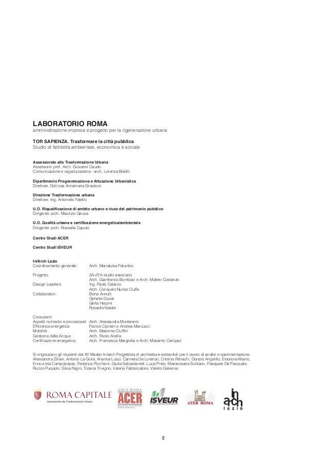 Torsapienza. Una esperienza di progettazione condivisa tra Inarch, Acer e Comune di Roma. Slide 2
