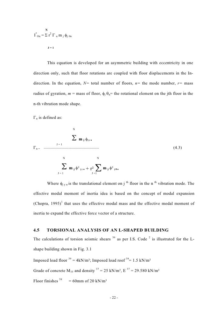 Torsional Response Of Assymetric Multy Story Building Thesis
