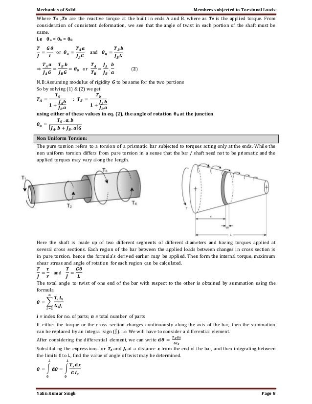 Torsion of circular shafts