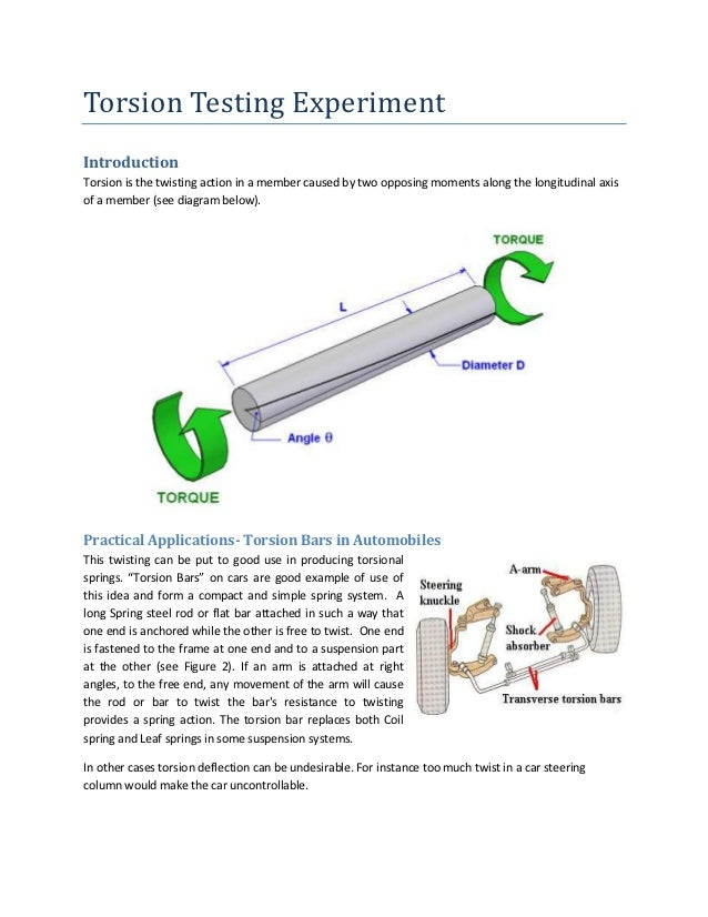 Torsion Testing ExperimentIntroductionTorsion is the twisting action in a member caused by two opposing moments along the ...