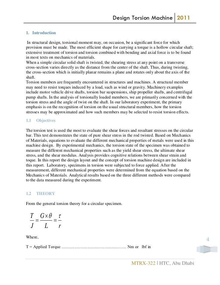 torsion of bars experiment report