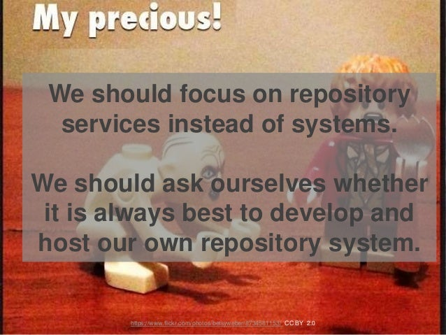 We should focus on repository services instead of systems. We should ask ourselves whether it is always best to develop an...