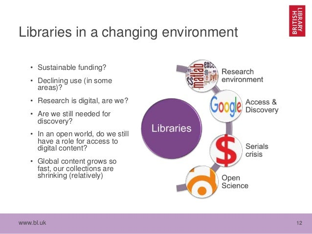 www.bl.uk 12 Libraries in a changing environment • Sustainable funding? • Declining use (in some areas)? • Research is dig...